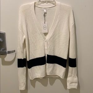 1901 White and Navy Sweater Cardigan